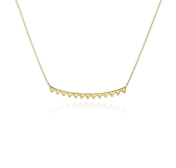 Chevron open work bar necklace