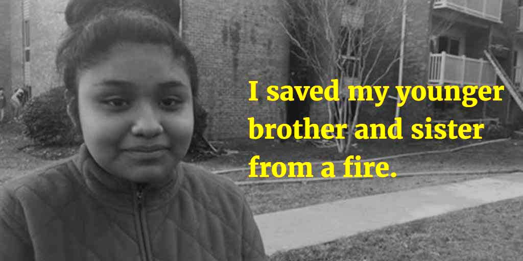 Girl saved younger siblings from fire