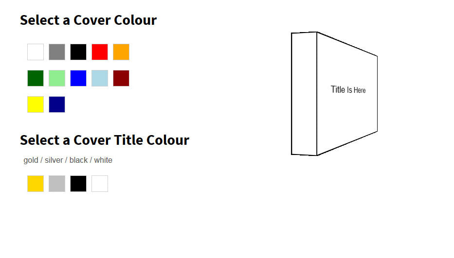 hardcover books colour selection