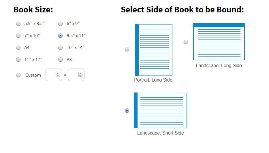 Choose the size and orientation of your book