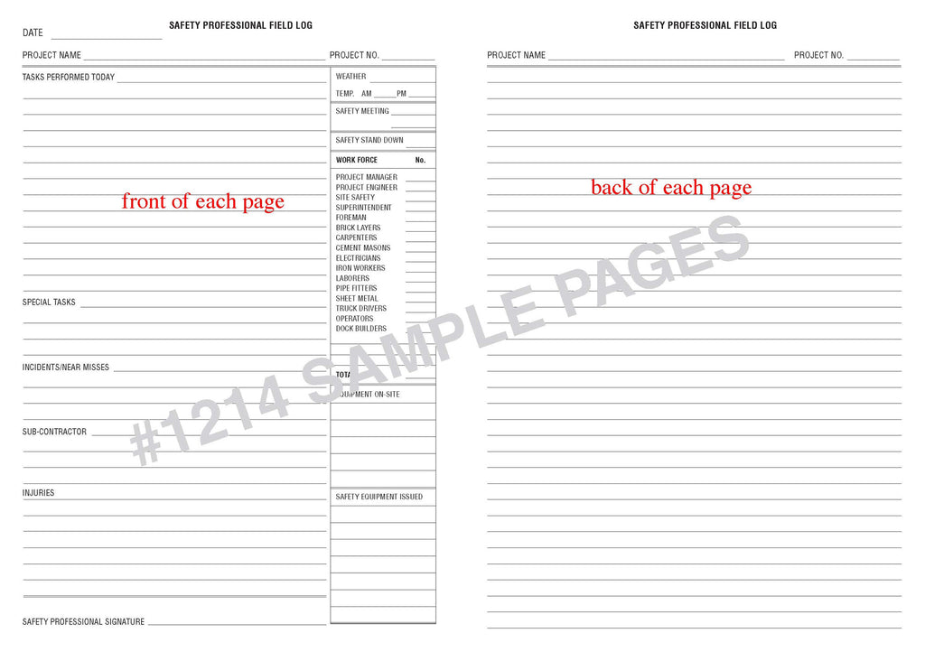 safety professional field log book 1214 log books unlimited