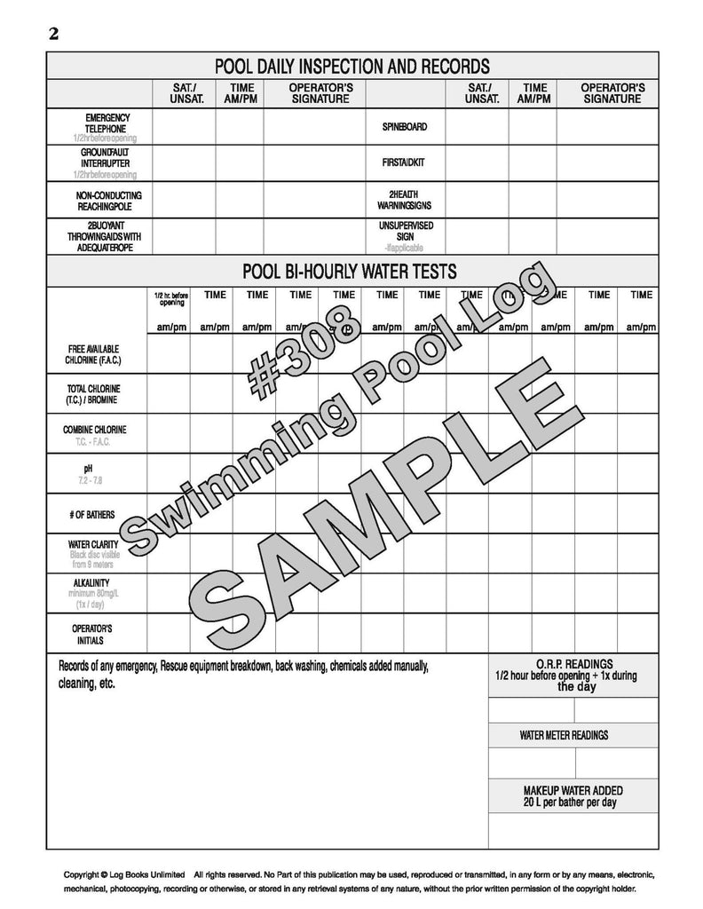 Swimming Pool Log Book 308 Log Books Unlimited 174 Your