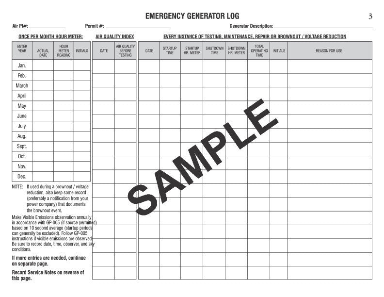 Emergency Generator Log Book #513 | Log Books Unlimited®: Your ...