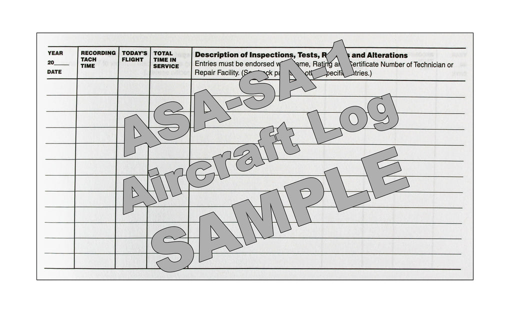 ASA SA1 Aircraft Log Book - Sample