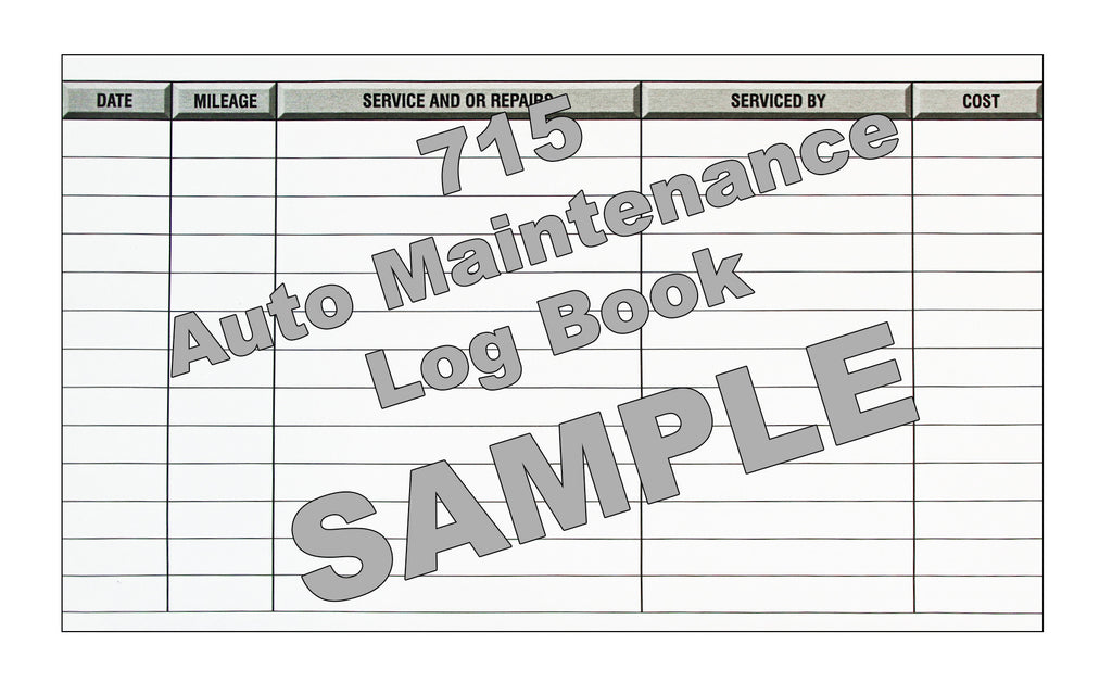 Auto Maintenance Log Book #715 | Log Books Unlimited®: Your Online ...
