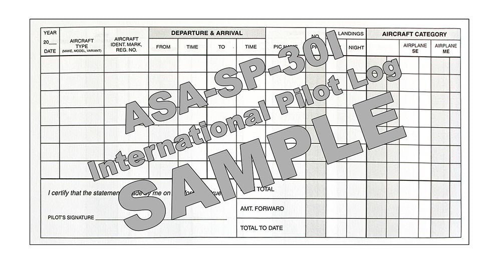 ASA International Pilot Log Front - Sample