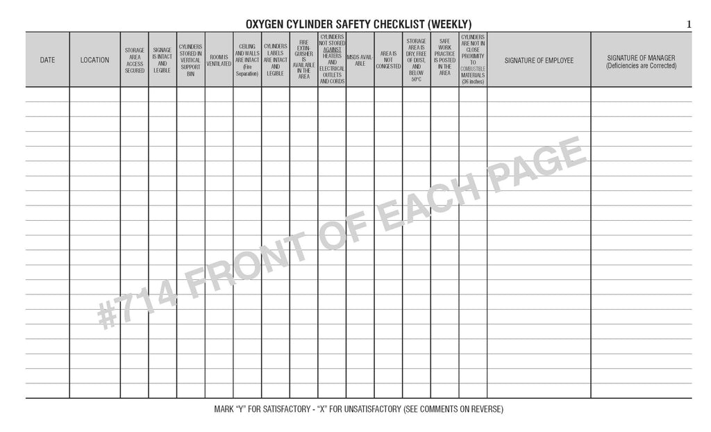 Oxygen Cylinder Safety Log Book #714
