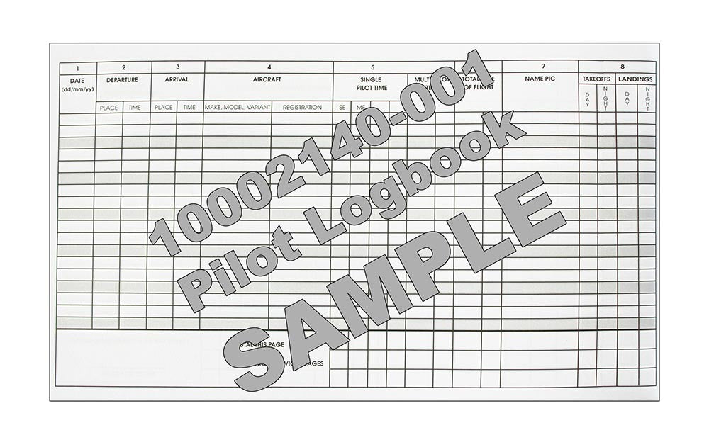 Jeppesen EU pilot logbook - Sample
