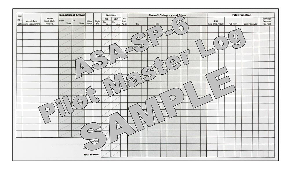 Pilot Master Log - Sample