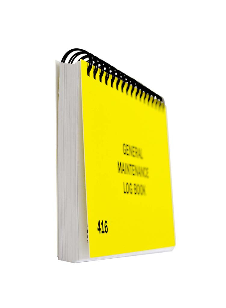 pocket sized yellow maintenance log book