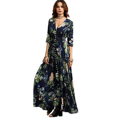 Andreea Navy Floral Button Down Maxi Dress