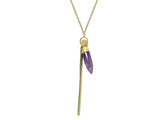 Ora Amethyst Bullet & Golden Bar Necklace - Lobby