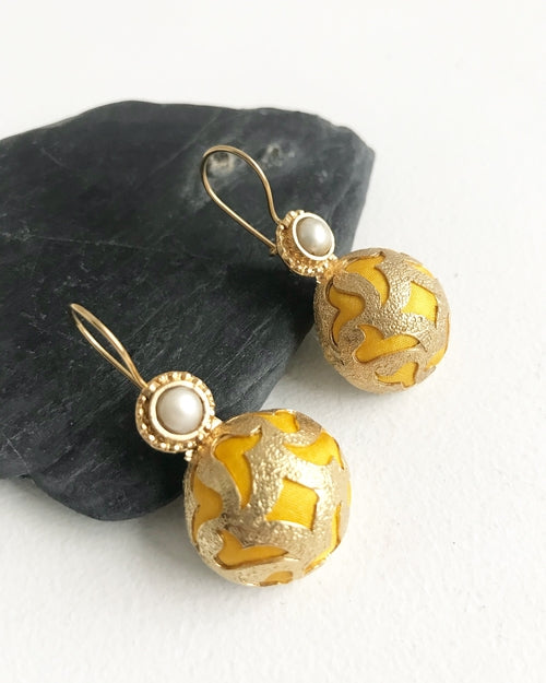 Dorothy Yellow Satin & Pearl Handcrafted Earrings - Lobby