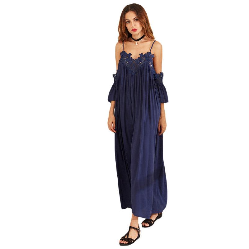 Rayanne Navy Lace Trim Maxi Dress - Lobby