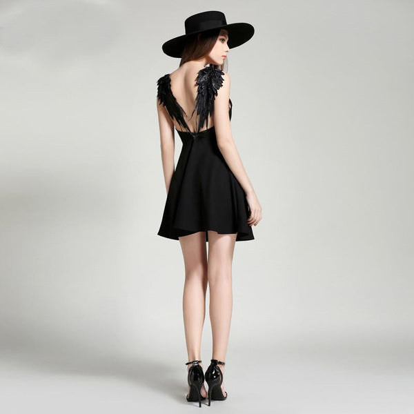 60b0864174d Sold Out Faith Black Angel Wing Dress - Lobby