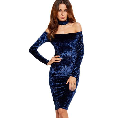 Julia Long Sleeve Velvet Choker Dress - Lobby