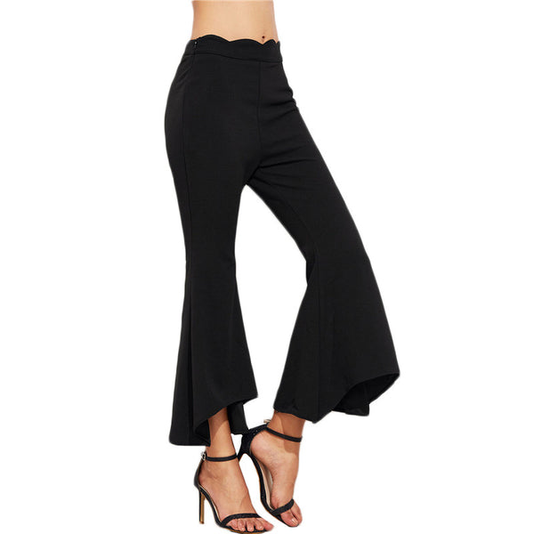Paula Scalloped Waist Flare Pants - Lobby