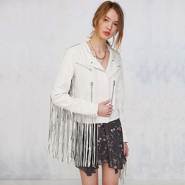 Heidi White Vegan Leather Biker Jacket - Lobby
