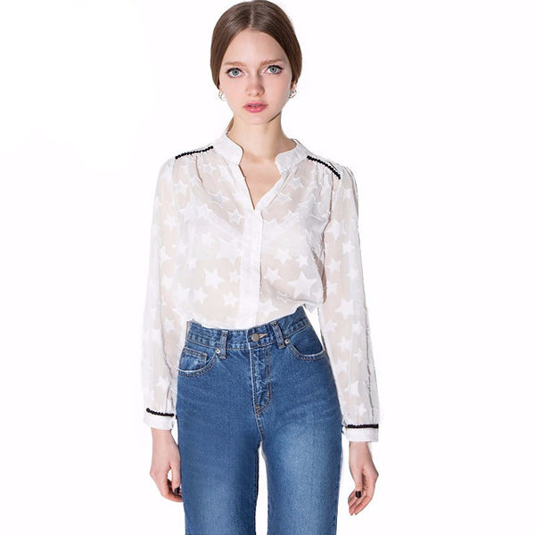 Mandy White Sheer Long Sleeve Star Shirt - Lobby