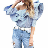 Big Ruffle One Shouldered Blouse - Lobby