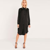 Rita Black Silky Embroidered Dress - Lobby