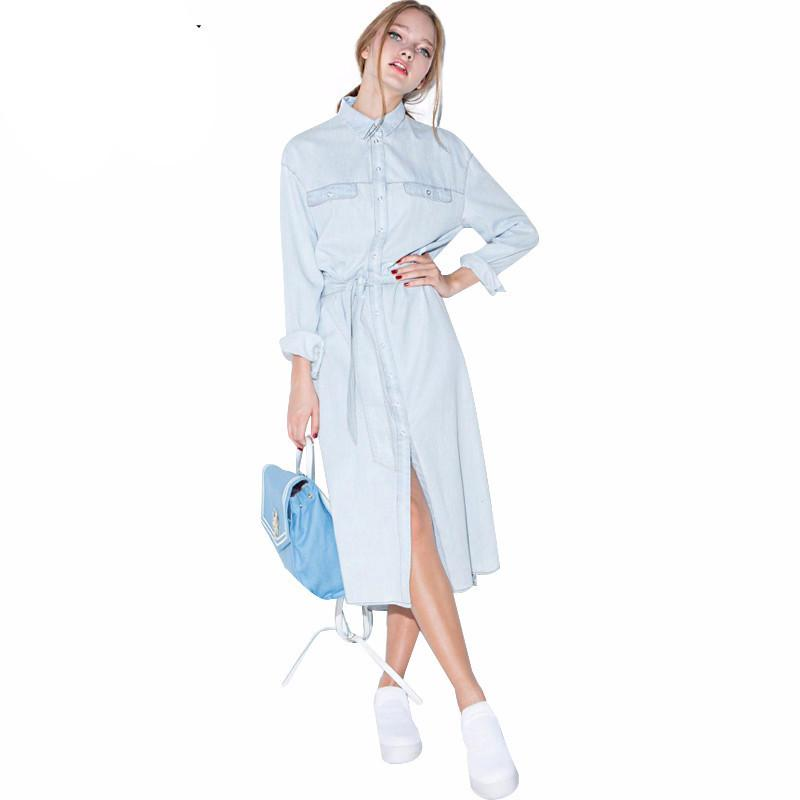Angelica Light Blue Casual Denim Dress - Lobby