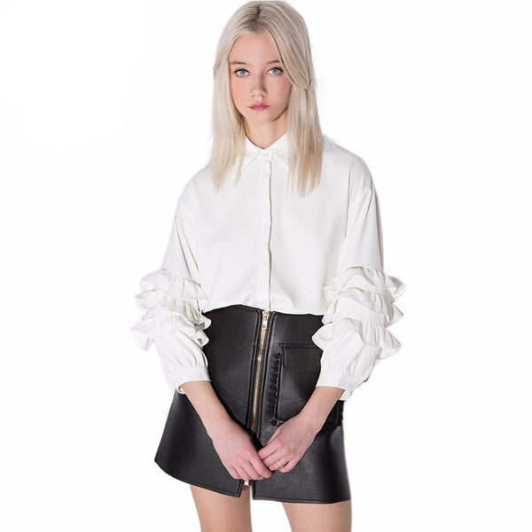 Andy White Ruffle Sleeve Blouse - Lobby