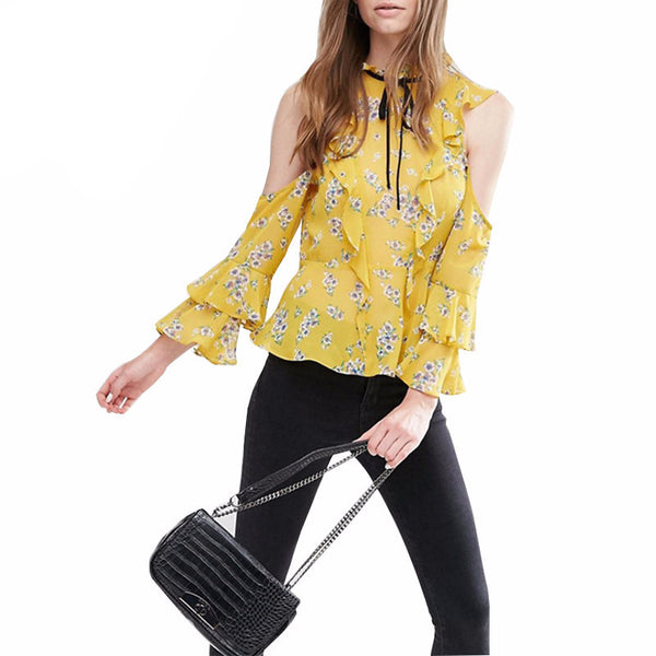 Samantha Yellow Floral Long Sleeve Ruffle Blouse - Lobby
