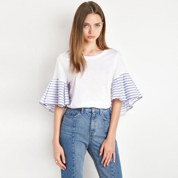 Nada White Stripe Sleeve Shirt - Lobby
