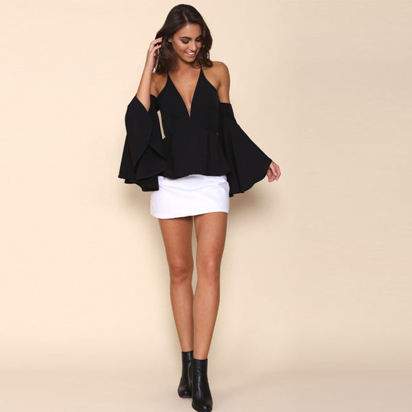 Pattie Black Bell Sleeve Top - Lobby