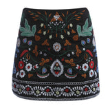 Felice Embroidered Black High Waisted Skirt - Lobby