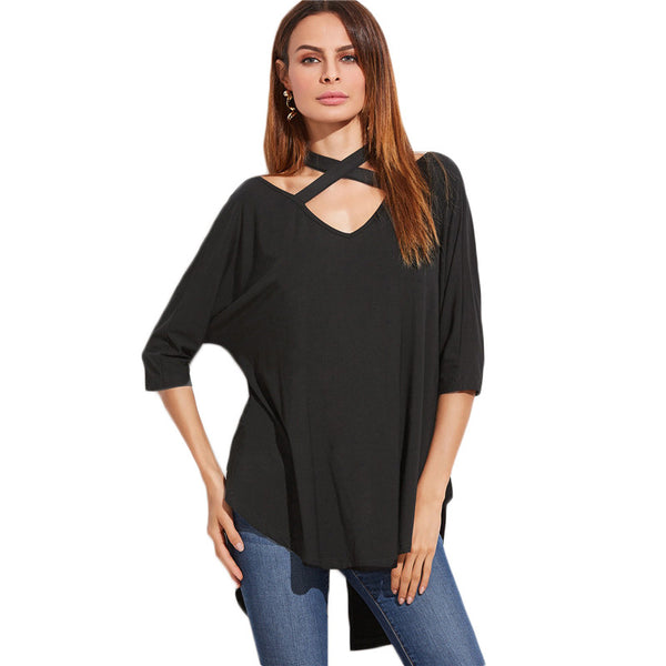Krista Crisscross Collar Black Shirt - Lobby