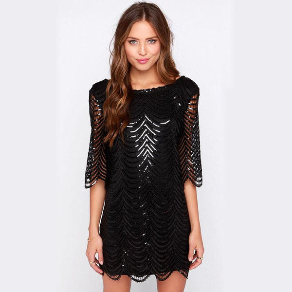 Alex Black Layered Sequin Dress - Lobby