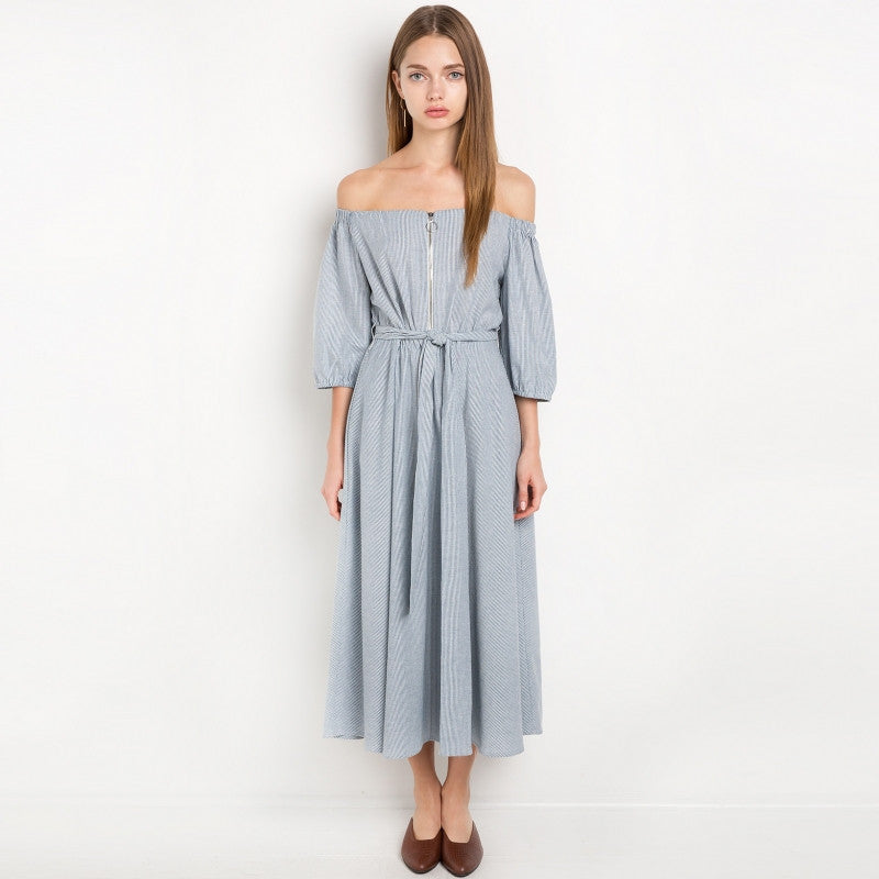 Norry Searsucker Open Shoulder Dress - Lobby