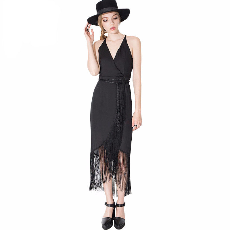 Sidney Black Fringe Trim Wrap Dress - Lobby