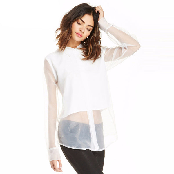 Nora White Sheer Button Up - Lobby