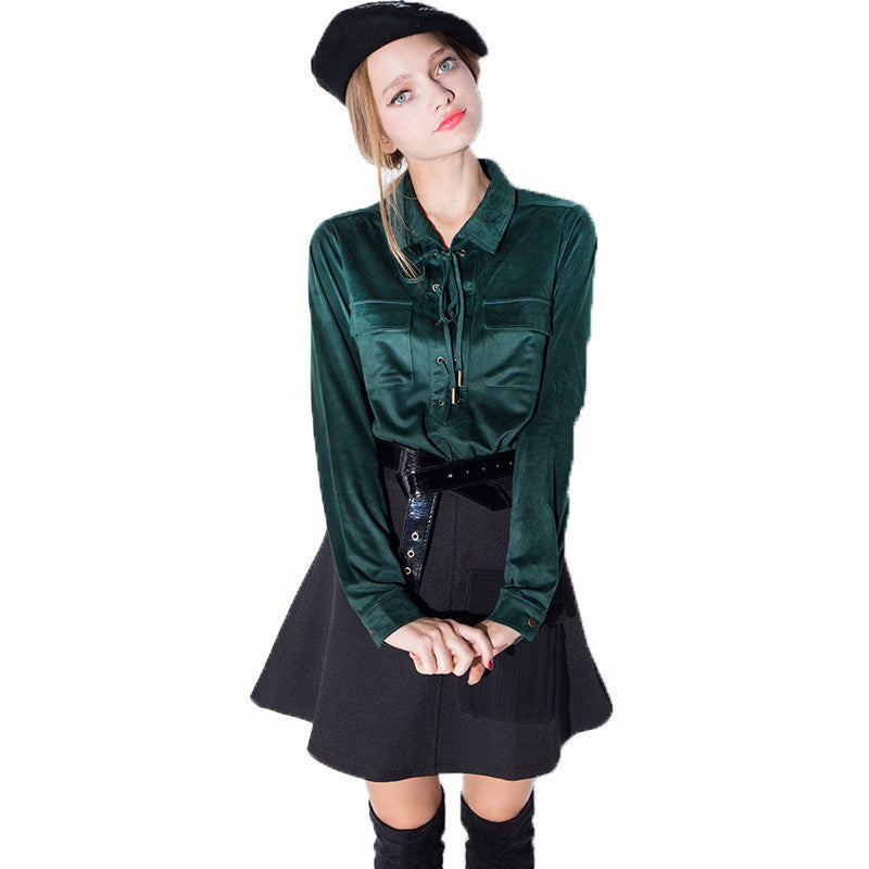 Sharen Green Silky Button Up Blouse - Lobby