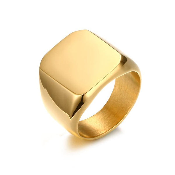 Tracy Gold Stainless Steel Square Ring - Lobby