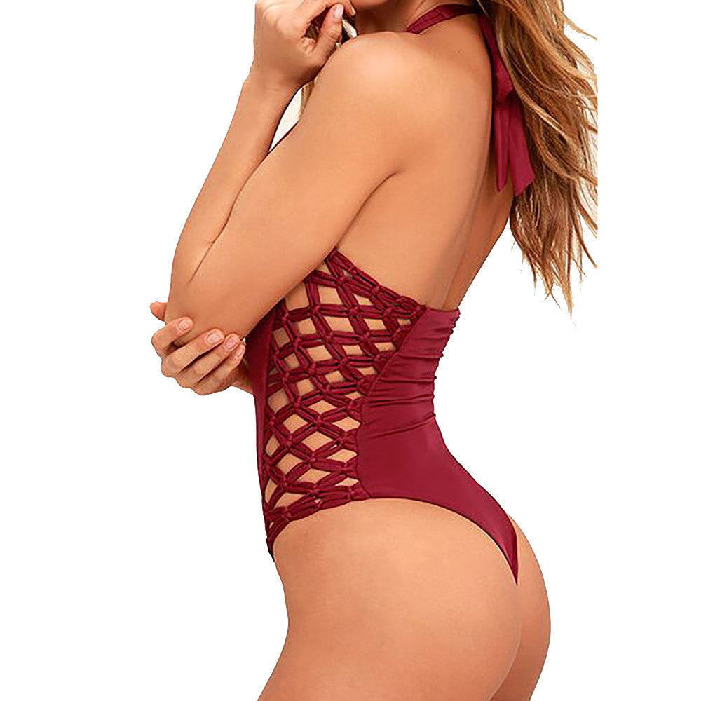Lucy Cross Hatch Halter One Piece Swimsuit - Lobby