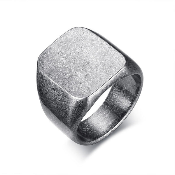 Tracy Grey Stainless Steel Square Ring - Lobby