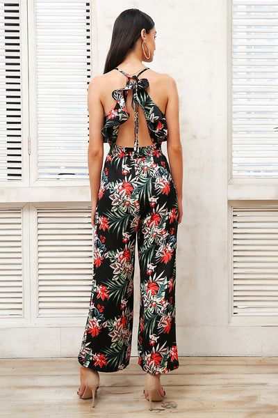 Vera Tropical Backless Romper - Lobby