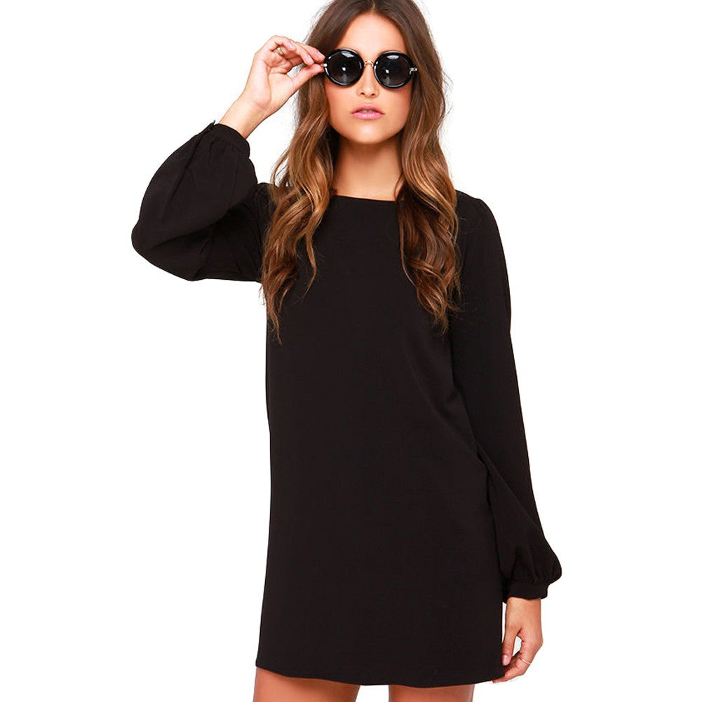 Shanna Black Chiffon Long Sleeve Dress - Lobby