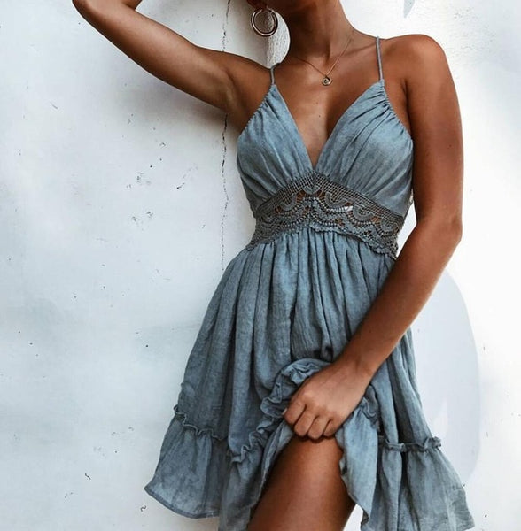 Catie Ruffled Bohemian Beach Dress - Lobby