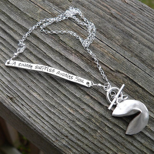 Custom Inscribed Fortune Cookie Necklace - sterling silver