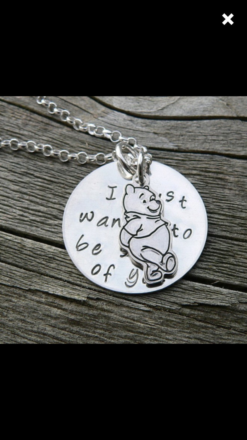 I Just Wanted to be Sure of You.  Pooh Necklace.