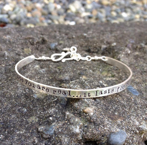 Custom Stamped Sterling Silver Phrase Cuff