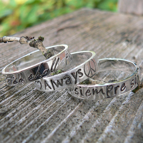 3 Stacked Custom Sterling Silver Hand Stamped Rings