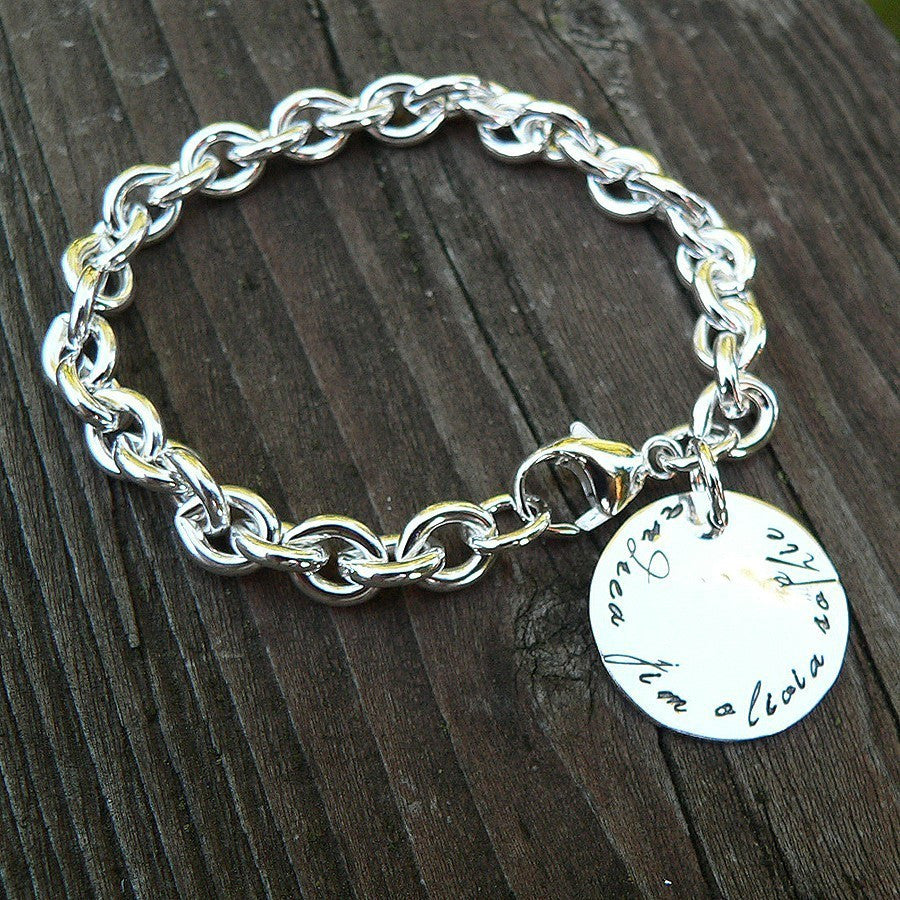 Super Thick Sterling Charm Bracelet - 11 Font Choices - Round or Heart Charm