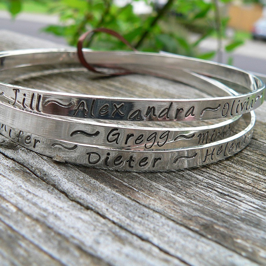 Sterling Silver Bangle Bracelet - Personalized - 14 font choices