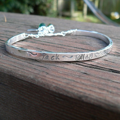 Hand Stamped Sterling Mothers or Phrase Cuff Bracelet - 14 font choices